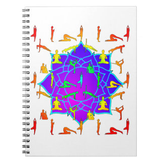 Lotus Flower With Yoga Positions Notebooks