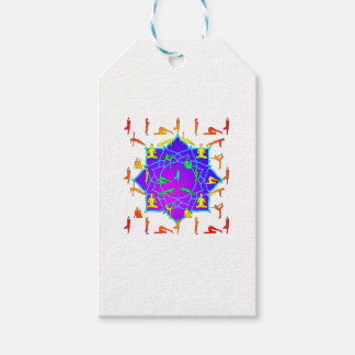Lotus Flower With Yoga Positions Pack Of Gift Tags