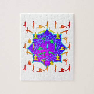 Lotus Flower With Yoga Positions Puzzle