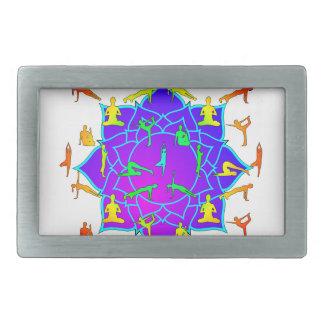 Lotus Flower With Yoga Positions Rectangular Belt Buckle