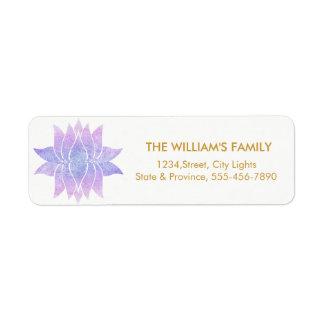 Lotus Flower Yoga Meditation Floral Purple Return Address Label