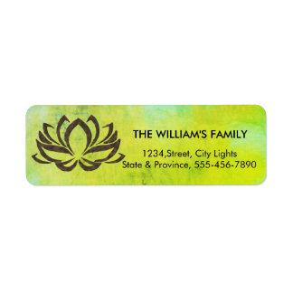 Lotus Flower Yoga Vintage Green Holistic Return Address Label