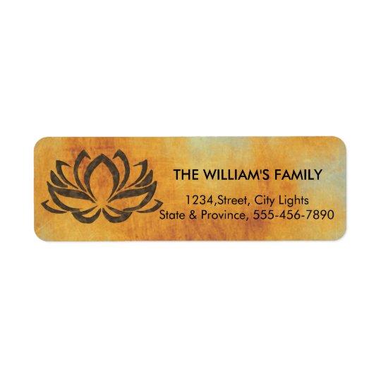 Lotus Flower Yoga Vintage Rustic Holistic Return Address Label