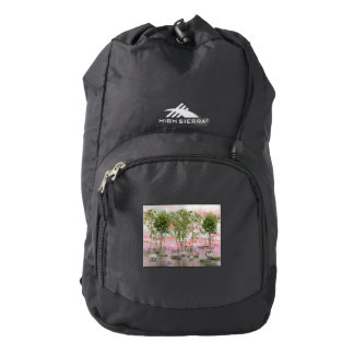 Lotus flowers and bamboos - 3D render Backpack