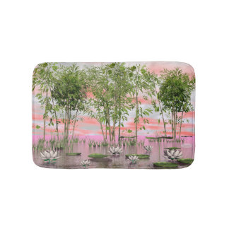 Lotus flowers and bamboos - 3D render Bath Mat