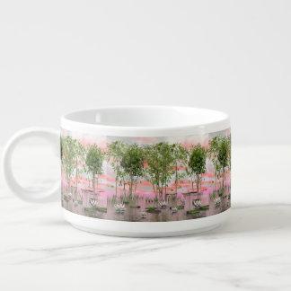 Lotus flowers and bamboos - 3D render Bowl