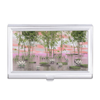 Lotus flowers and bamboos - 3D render Business Card Holder