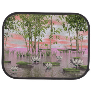 Lotus flowers and bamboos - 3D render Car Mat