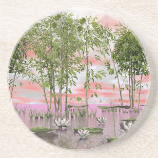 Lotus flowers and bamboos - 3D render Coaster