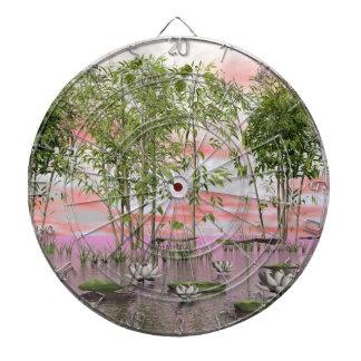Lotus flowers and bamboos - 3D render Dartboard