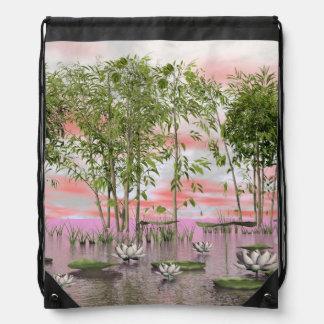 Lotus flowers and bamboos - 3D render Drawstring Bag