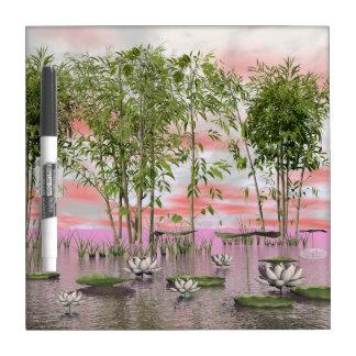 Lotus flowers and bamboos - 3D render Dry Erase Board