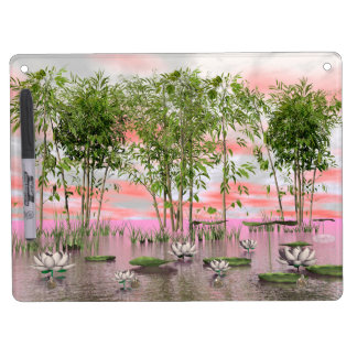 Lotus flowers and bamboos - 3D render Dry Erase Board With Keychain Holder