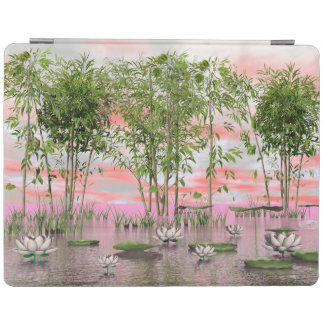 Lotus flowers and bamboos - 3D render iPad Cover