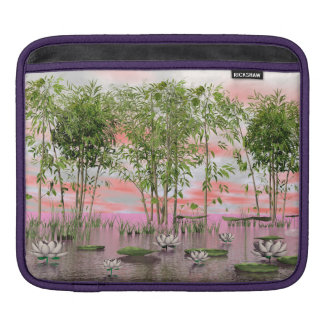 Lotus flowers and bamboos - 3D render iPad Sleeve