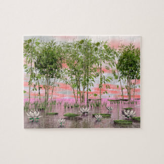 Lotus flowers and bamboos - 3D render Jigsaw Puzzle