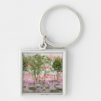 Lotus flowers and bamboos - 3D render Keychain