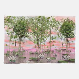Lotus flowers and bamboos - 3D render Kitchen Towel