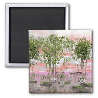 Lotus flowers and bamboos - 3D render Magnet