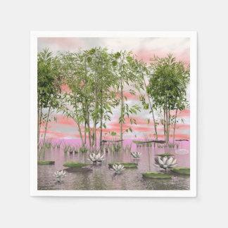 Lotus flowers and bamboos - 3D render Paper Napkin