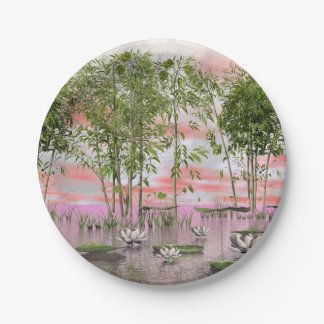 Lotus flowers and bamboos - 3D render Paper Plate