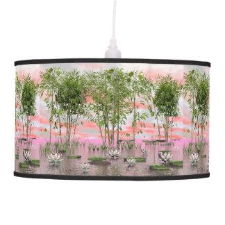 Lotus flowers and bamboos - 3D render Pendant Lamp