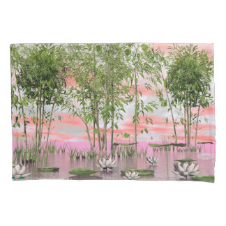Lotus flowers and bamboos - 3D render Pillowcase