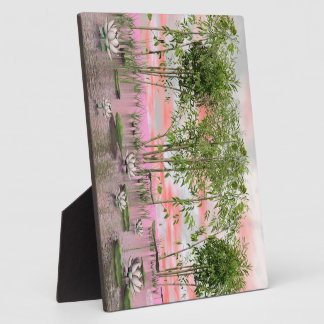 Lotus flowers and bamboos - 3D render Plaque