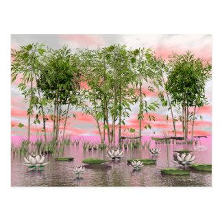 Lotus flowers and bamboos - 3D render Postcard