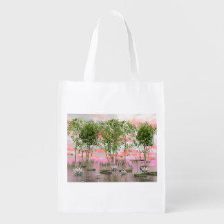 Lotus flowers and bamboos - 3D render Reusable Grocery Bag