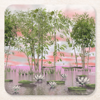 Lotus flowers and bamboos - 3D render Square Paper Coaster