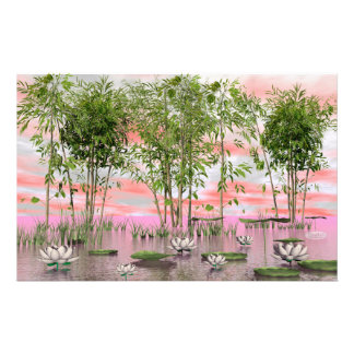 Lotus flowers and bamboos - 3D render Stationery