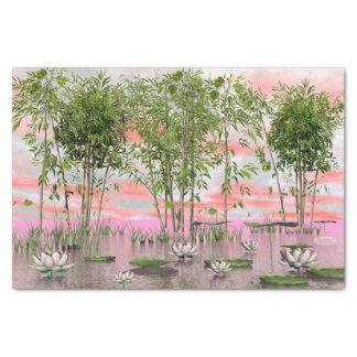Lotus flowers and bamboos - 3D render Tissue Paper