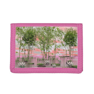Lotus flowers and bamboos - 3D render Tri-fold Wallet