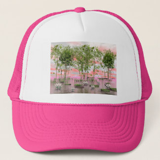 Lotus flowers and bamboos - 3D render Trucker Hat
