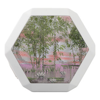 Lotus flowers and bamboos - 3D render White Bluetooth Speaker