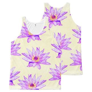 lotus flowers cream inky All-Over-Print tank top