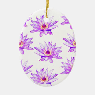 lotus flowers cream inky ceramic ornament