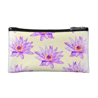 lotus flowers cream inky cosmetic bag