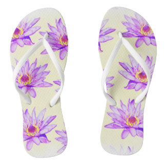 lotus flowers cream inky flip flops