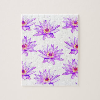 lotus flowers cream inky jigsaw puzzle