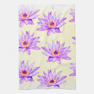 lotus flowers cream inky kitchen towel