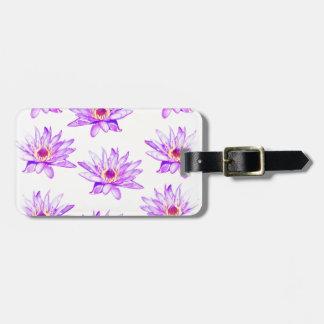 lotus flowers cream inky luggage tag