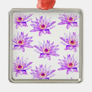 lotus flowers cream inky metal ornament