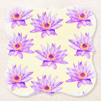 lotus flowers cream inky paper coaster