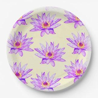 lotus flowers cream inky paper plate