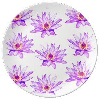 lotus flowers cream inky plate