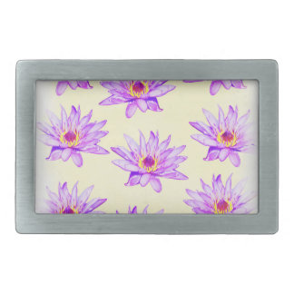 lotus flowers cream inky rectangular belt buckle