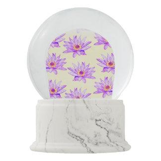 lotus flowers cream inky snow globe