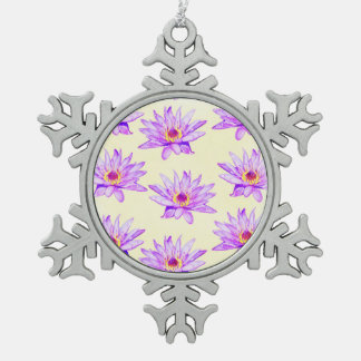 lotus flowers cream inky snowflake pewter christmas ornament